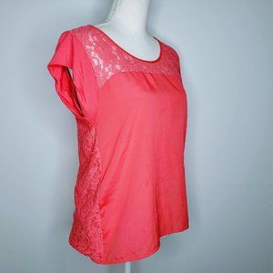 Express Flower Pink Lace Blouse - M